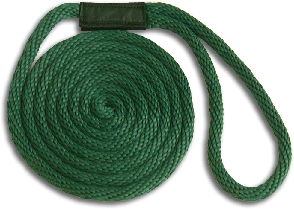 """Floats 1//2/"""" x 20/' // USA // FOREST GREEN Solid Braid Nylon Dock Line 2-PACK!"""