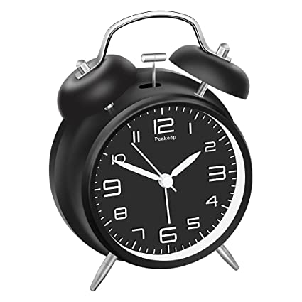 Black) - Peakeep 10cm Twin Bell Alarm Clock with ...