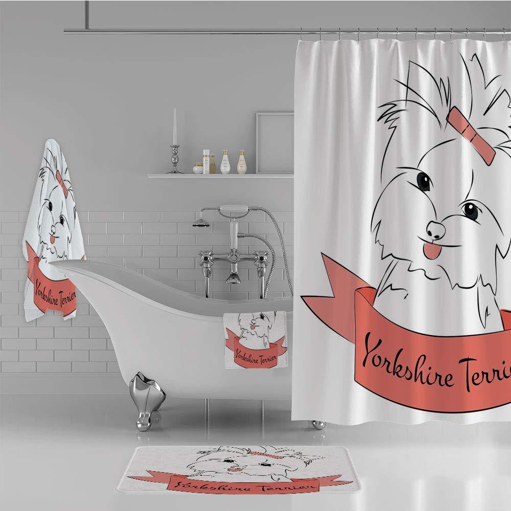 iPrint Bathroom 4 Piece Set Shower Curtain Floor mat Bath Towel 3D Print,Buckle Yorkie Terrier Animal Ribbon Cartoon Character,Fashion Personality Customization adds Color to Your Bathroom.
