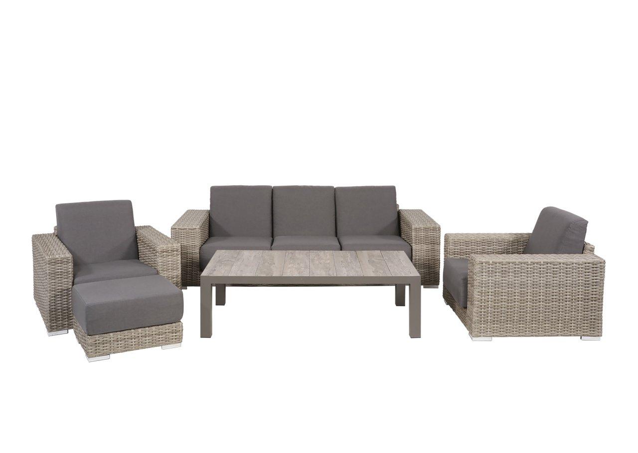 lifestyle4living Lounge Gartenmöbel Set aus Polyrattan in braun. Gartenstühle und Bank verstellbar inkl. Sitzauflagen, wetterfest. Ideal für Garten und Terrasse.