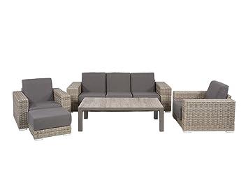 Lounge Gartenmöbel Set Aus Polyrattan In Braun. Gartenstühle Und Bank  Verstellbar Inkl. Sitzauflagen,