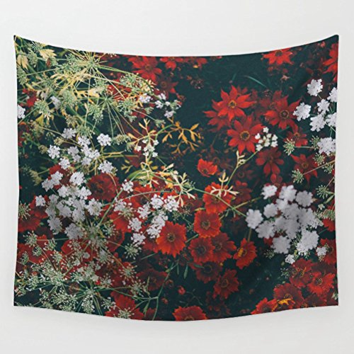 LivebyCare Floral Tapestry Wall Hanging Decoration Beach Towel Lightweight Polyester Fabric Decorative Wall Tapestries Decor Art for Dinning Room Passageway Lobby Apartment