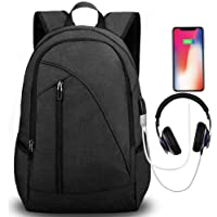 Tocode Water Resistant Laptop Backpack with USB Charging Port Headphone (Black)