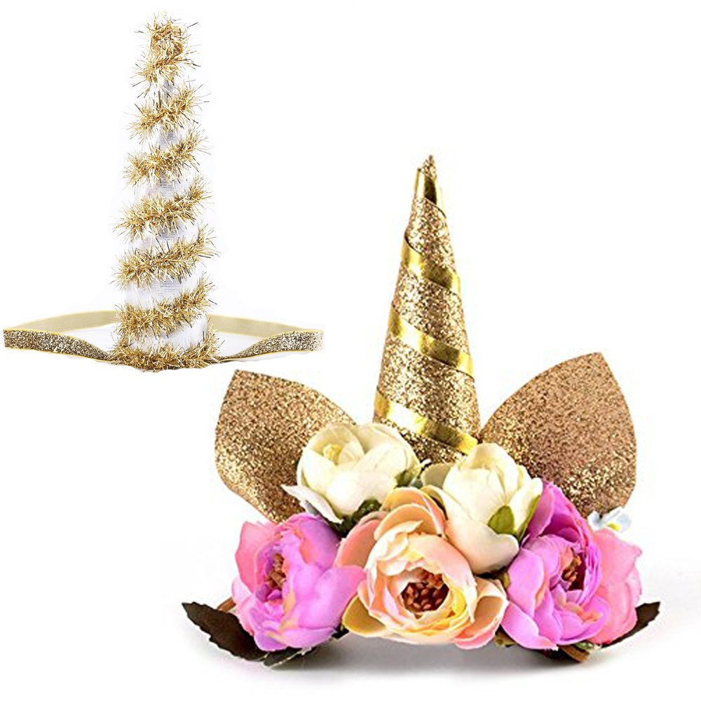 Unicorn Headband Paty Supplies Glitter Horn Headpiece Flower Crown