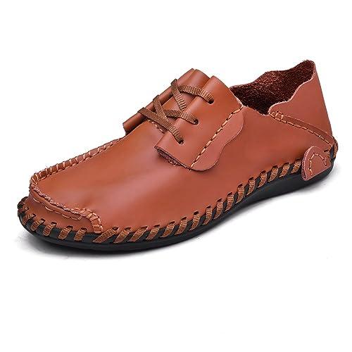 UBFen Hombre Zapatos Casuales Mocasin de Cuero Conducir Slip On Negocios Oxfords Conducción Coche Negro Azul Amarillo Marrón Claro EU 47 B Rojo-Pardo: ...
