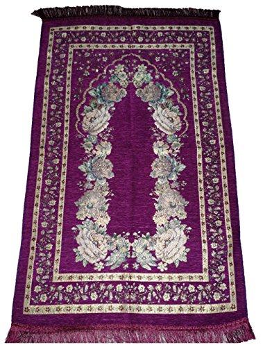 Amn Muslim Prayer Rug Floral Design Lightweight Luxery Islamic Carpet Sajjadah (Purple) by Amn