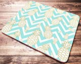 Gold Pineapple Mouse Pad Mint Teal Turquoise Chevron Mousepad