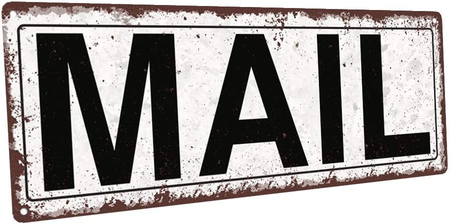 Homebody Accents TM Mail Metal Street Sign, Rustic, Vintage