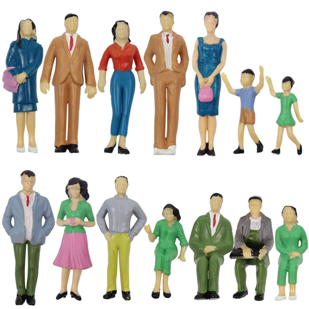 P2501 14pcs Model Trains Architectural 1:25 Scale Painted Figures SCALE G sitting and standing people model railway layout NEW