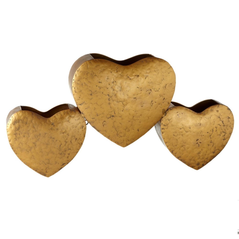 Diva At Home Triple Gold Heart Wall Pocket Hanging Wall Pocket Mail Storage Basket 26''