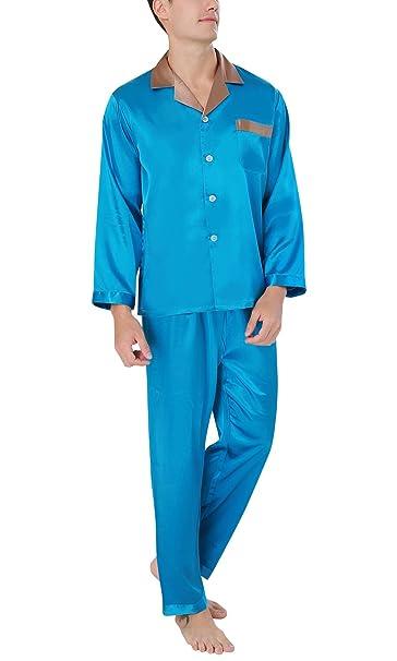 Dolamen Pijamas para Hombre Satén, Hombre Largos Primavera Verano, Hombre Camisones Pijamas de Parejas
