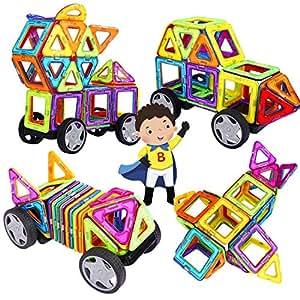 INTEY -【Mini Piezas Bloques De Construcción Magnéticos,Juguetes Construcciones para Niños Construir Una Casa, Un Coche, Torre, Ruedas Grandes (32 Piezas)