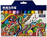 Acrylic Paint Markers Set - Permanent Paint Pens for Plastic, Glass, Ceramic, Wood, Cloth, Rubber, Rock and any surface. 12 Water based. Water resistent (Original Version)