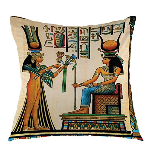oFloral Old Egyptian Decorative Pillow Case Historical Empire Artwork Throw Pillow Square Cushion Cover for Outdoor Living Room Sofa Couch Home Bedroom Decoration 18