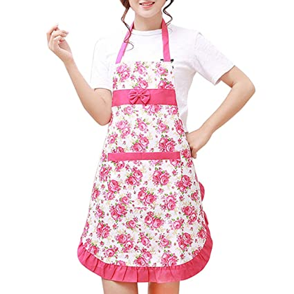6b08b366283ee Amazon.com: Aprons - Chinese Pinafore Floral Cotton Linen Apron ...