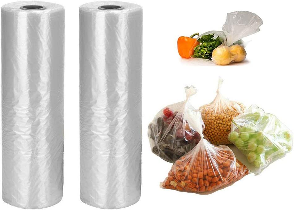 12 x 20 inches Plastic Produce Bag,2 rolls,350 Bags/Roll,Food Storage Bags,Clear Plastic Produce Bag,Suitable for Fruits, Vegetable, Bread,Food Storage.