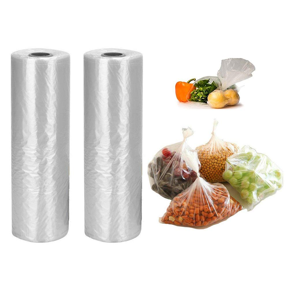 12'' x 20'' Plastic Produce Bag on Roll, 700 Bags for Fruits, Vegetable, Bread, Food Storage Clear Bags (2 Rolls, 350 Bags/Roll)