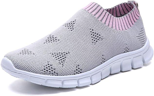 Fullbeing Zapatillas Deportivas de Mujer Gimnasia Malla Exterior para Atar con Sin Cordones Zapatillas Deportivas Zapatillas Transpirables Zapatillas de Deporte 35-43 (35, Gris): Amazon.es: Zapatos y complementos