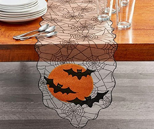 Halloween Spider Web Table Runner w/Bats & Moon