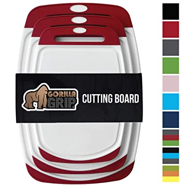 GORILLA GRIP Original Reversible Cutting Board (3-Piece), BPA Free, Dishwasher Safe, Juice Grooves, Larger Thicker Boards, Easy Grip Handle, Non-Porous, Extra Large, Kitchen (Set of Three: Red)