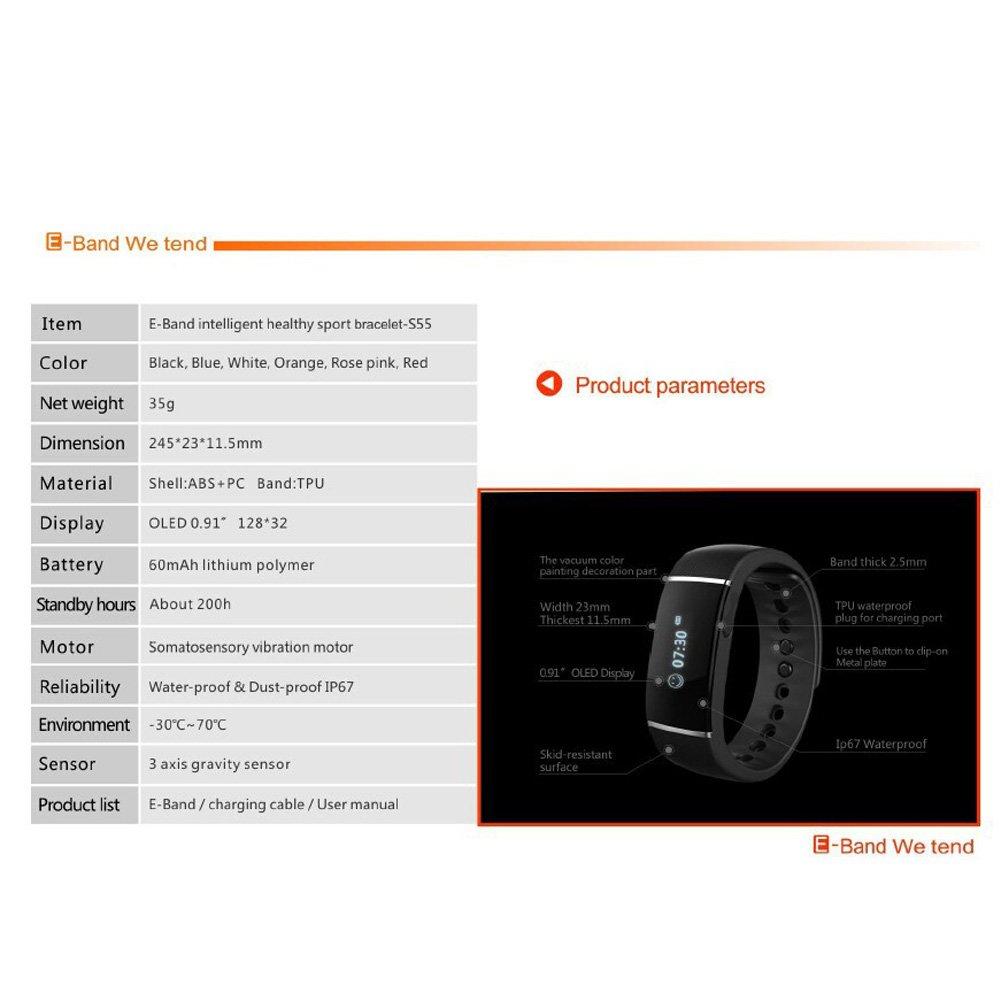 Vktech- S55 Inteligente Reloj de Pulsera Bluetooth para Teléfono Ios ,Andirio, iphone (Negro): Amazon.es: Deportes y aire libre