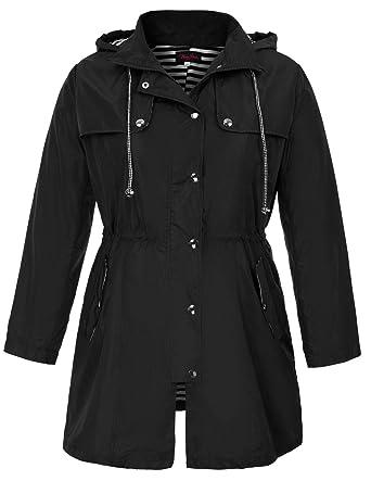 43ad9be17 Hanna Nikole Women's Plus Size Waterproof Raincoats Outdoor Hooded Rain  Jacket Windbreaker