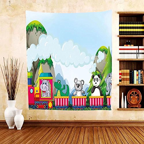 Gzhihine Custom tapestry Kids Tapestry Various Animals Riding on Train in the Park with Mountains Cartoon Style Illustration for Bedroom Living Room Dorm - Beach South Outlets In Miami
