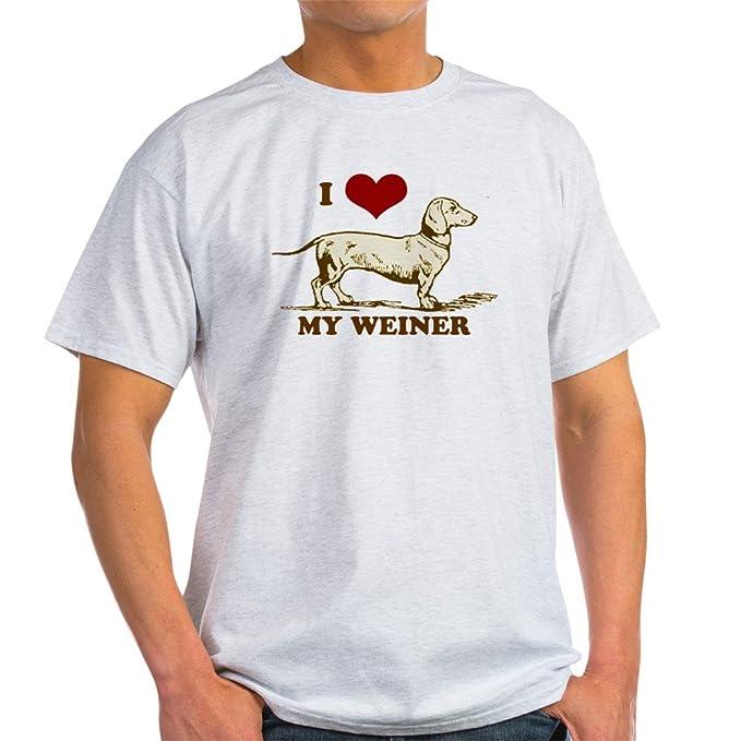 53c25c704 Amazon.com  CafePress I Love My Weiner Dog! Light T Shirt Cotton T ...