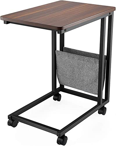Industrial Side Table, FAMIROSA Mobile Snack Table for Coffee Laptop Tablet, Slides Next to Sofa Couch, Wood Look Accent Furniture with Metal Frame
