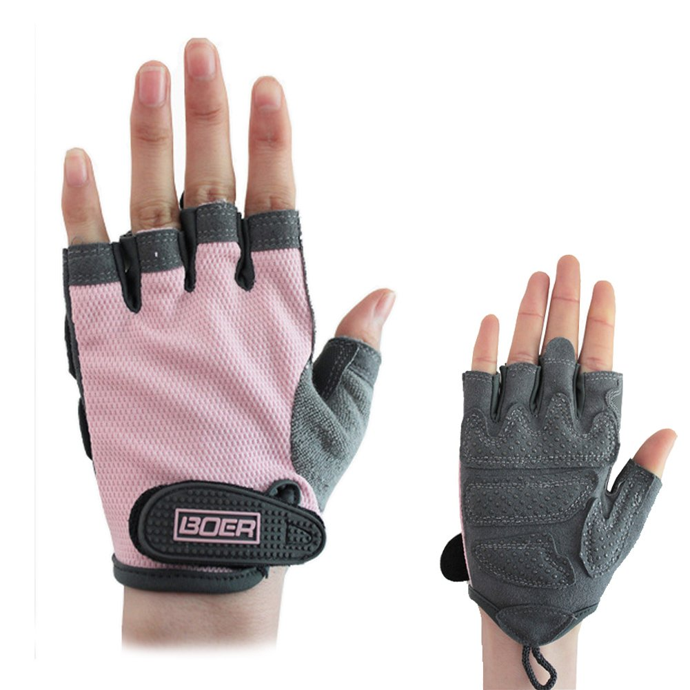 Eloiro Half Gloves, Men/Women Light Breathable Nylon & Faux Leather Anti-Slip Shock-Absorbing Grip w/ Velcro Strap for Sports & Workout-Fishing, Racing, Cycling, Skating & Climbing (Pink Grey, Size S)