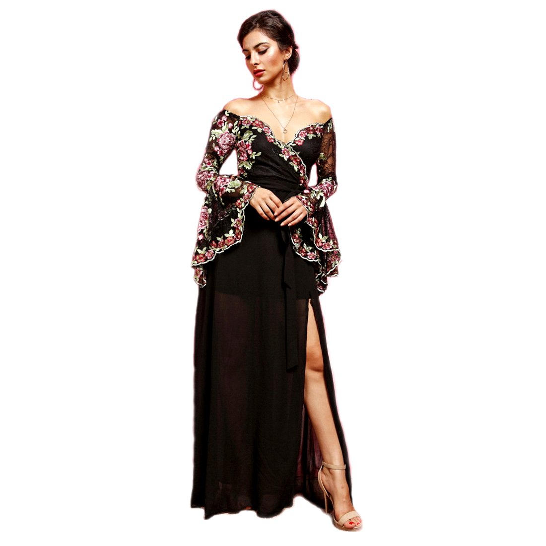 f0bbb8ee7eed0 Crazy4Bling Soieblu, Black Floral Off-The-Shoulder Long Bell Trumpet Sleeve  Maxi Dress, Large at Amazon Women's Clothing store: