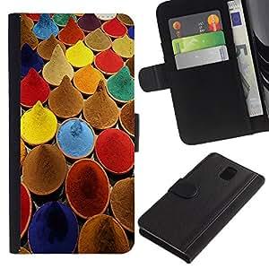 """Samsung Galaxy Note 3 III N9000 N9002 N9005 , la tarjeta de Crédito Slots PU Funda de cuero Monedero caso cubierta de piel ("""" Spices India Cuisine Colors Paint Market"""")"""