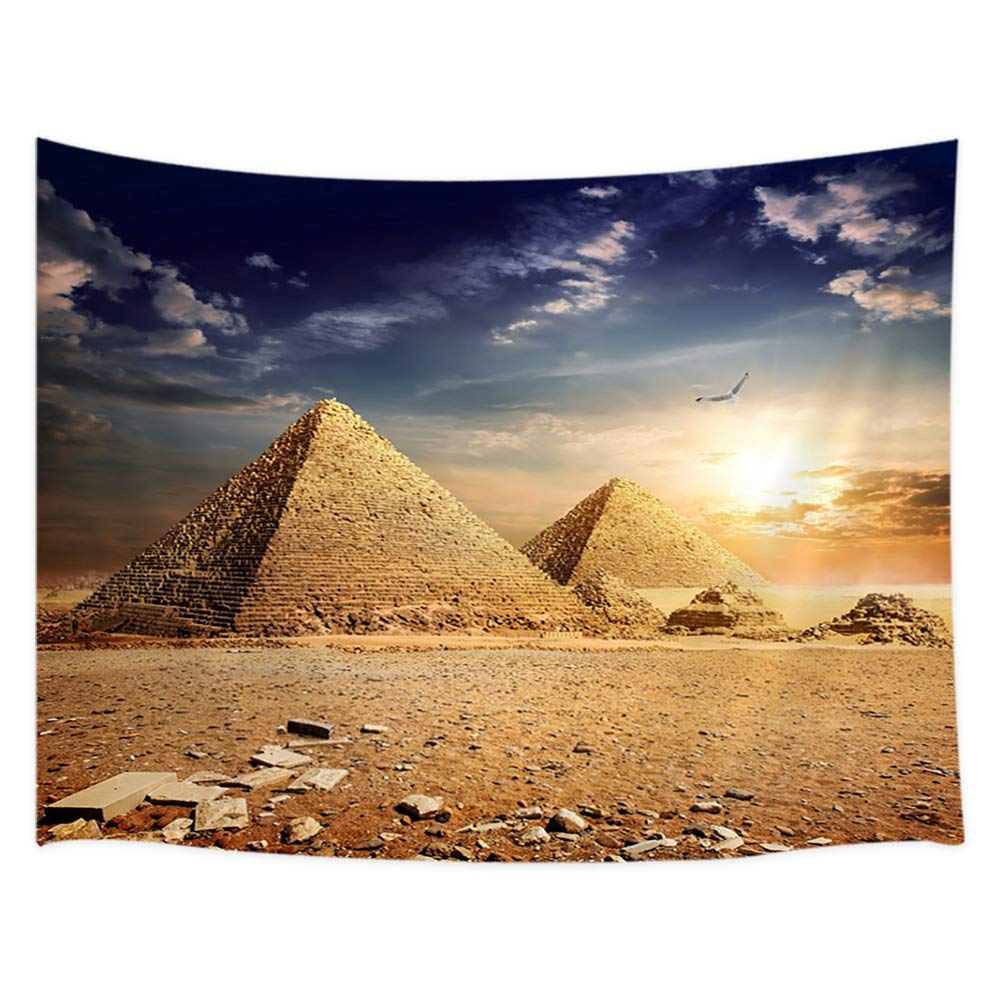 JAWO Egypt Travel Tapestry Wall Hanging, Egyptian Pyramids History in Desert and Flying Eagle Bird Nature Sunshine, Home Decor Tapestries Wall Blanket for Living Room Bedroom Dorm 60X40 Inches