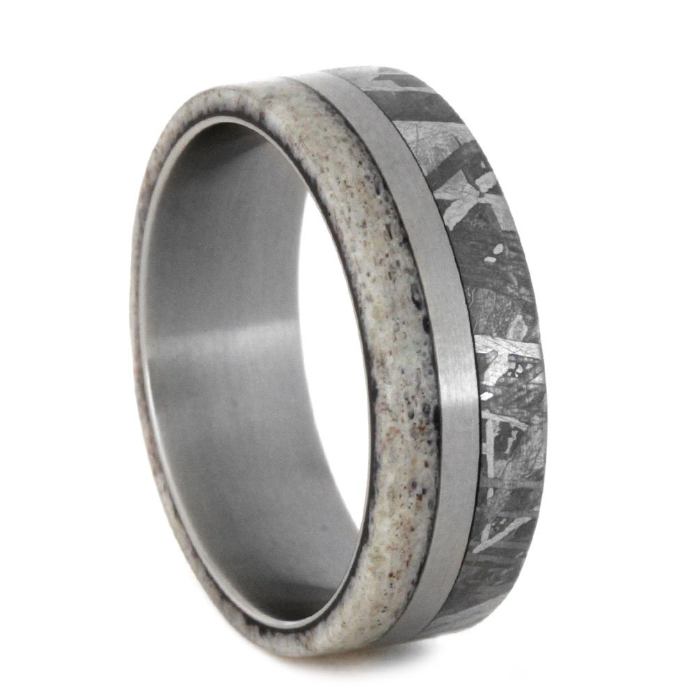 5d4350e627 Gibeon Meteorite, Deer Antler 5.5mm Comfort-Fit Matte Titanium Band, Size  12.75|Amazon.com