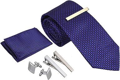 Rovtop Corbatas de Hombre Regalo Conjunto - Set de Corbata Hombre Simulación Cosidas a Mano de Seda con Corbata, Pañuelo, 1 par Gemelos Cuadrados, 3 Clips de Corbata (Cuadrado Azul): Amazon.es: Ropa