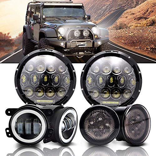 DakRide 75W Hi/Lo Beam 7 Inch Round LED Headlight w/ DRL + Pair 4 Inch 30W LED Fog Lights w/ Halo Ring + Pair Amber Front LED Turn Signal Lights for 2007-2017 Jeep Wrangler JK JKU Sahara Rubicon