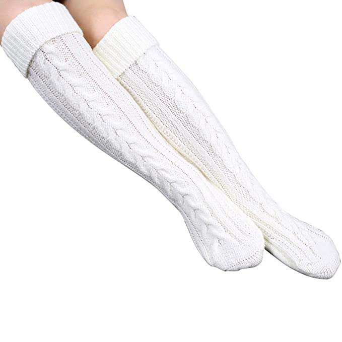 1920s Style Stockings & Socks Overknee Thigh High Warmer Socks Knit Woolen Yarn Stocking $11.79 AT vintagedancer.com