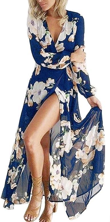Abiti Da Sera Amazon.Chuangminghangqi Donna Lungo Stampa Fiori Elegante Vestito Da