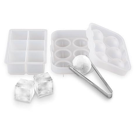 BeePole Moldes para fabricar bolas y cubos cuadrados de hielo - Combo de bandeja de hielo