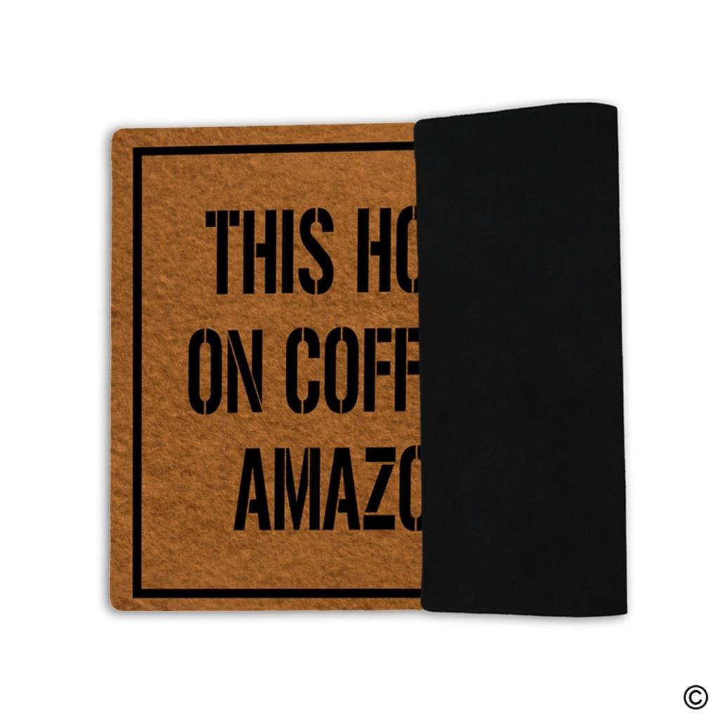 Amazon.com : MsMr Doormat Welcome Mat This House Runs On Coffee ...