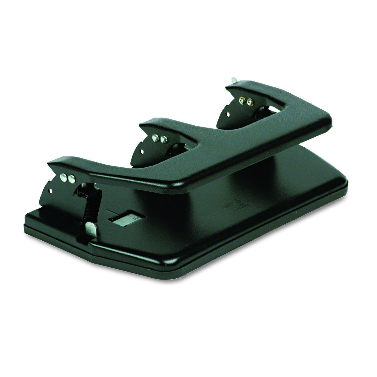 Master MP3 20-Sheet Three-Hole Punch, Oversized Handle, 9/32'' Holes, Steel, Black