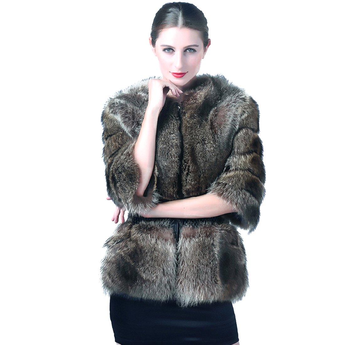 URSFUR Women's Raccoon Fur Slim Coat Winter Short Jacket