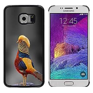 Gris borroso Naturaleza Tropical Yellow Bird- Metal de aluminio y de plástico duro Caja del teléfono - Negro - Samsung Galaxy S6 EDGE (NOT S6)