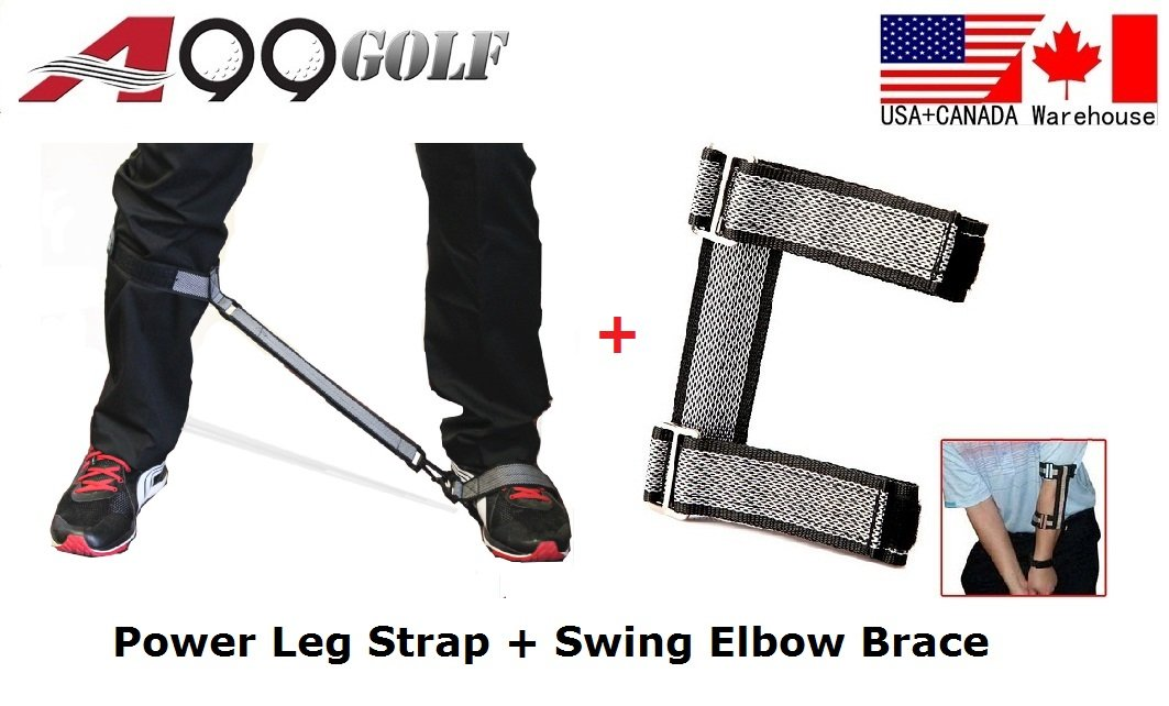A99 Golf leg power correction strap training aids band + elbow checker brace
