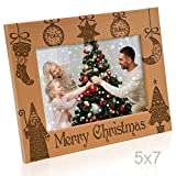 peace picture frame - Kate Posh - Vintage Merry Christmas Picture Frame - Peace, Joy, Love, Believe, Faith Engraved Natural Wood Photo Frame - Christmas Gifts for Family, Grandparents, Friends, Parents (5x7-Horizontal)