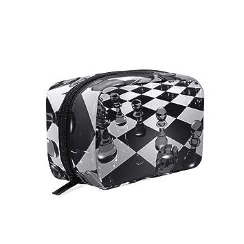 ac9ba9718c3e Chess Board Travel Makeup Cosmetic Bags Organizer ... - Amazon.com