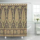 Emvency Fabric Shower Curtain with Hooks Border Paisley Indian Baroque Floral Arabesque Abstract Arab Arabian Arabic 60''X72'' Decorative Bathroom Treated to Resist Deterioration by Mildew