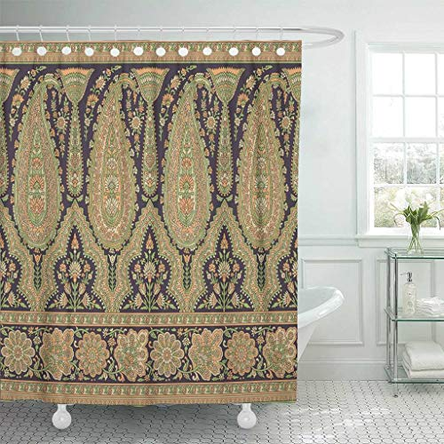 Emvency Fabric Shower Curtain with Hooks Border Paisley Indian Baroque Floral Arabesque Abstract Arab Arabian Arabic 60''X72'' Decorative Bathroom Treated to Resist Deterioration by Mildew by Emvency