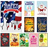 Cheap Seasonal Garden Flag Set of 10-, Double Sided Flags, Thick Weatherproof Polyester Fabric, Adorable Artist Drawn Colorful Artwork, 12×18 Size, 1 Anti Wind Clip.