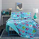 Little Maisy Quilt Set Bedspread Elephants, Birds, Children Kids Tweens (Blue Elephant, Twin)